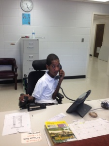 Brandon Pinkney, a student who has Muscular Dystrophy, is interning as a camp counselor through the TIDES program.