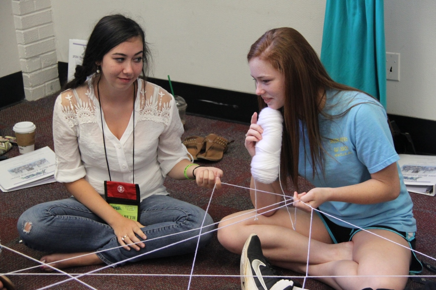 YLF delegates participate in the spider web team-building exercise.