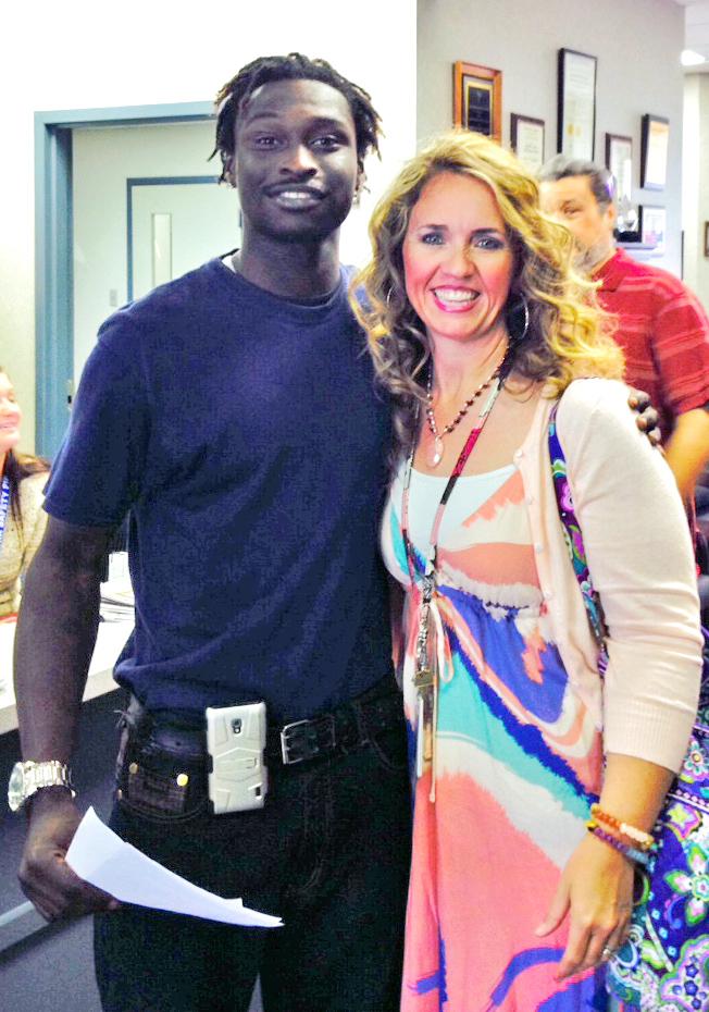 Javonte Love with Tonya Frankum, senior rehabilitation counselor in Huntsville.