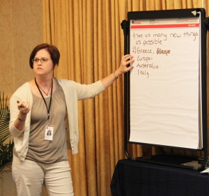 Kristine Klopp takes notes during an 2012-2013 LTI activity outlining crucial differences between Myers-Briggs personality types (file photo)