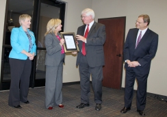 Baptist Medical Center South staff receive a certificate from DMH Commissioner Jim Reddoch and ADRS Commissioner Cary Boswell