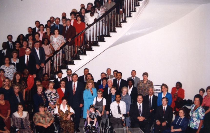 ADRS staff gather at the Alabama State Capitol to celebrate the first day of operation as a department on Jan. 3, 1995.
