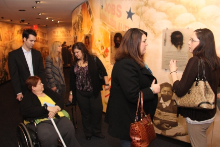 LTI members read and discuss different exhibits at the Civil Rights Memorial Center