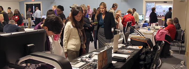 Attendees visit the exhibits at the 2015 Technology Symposium