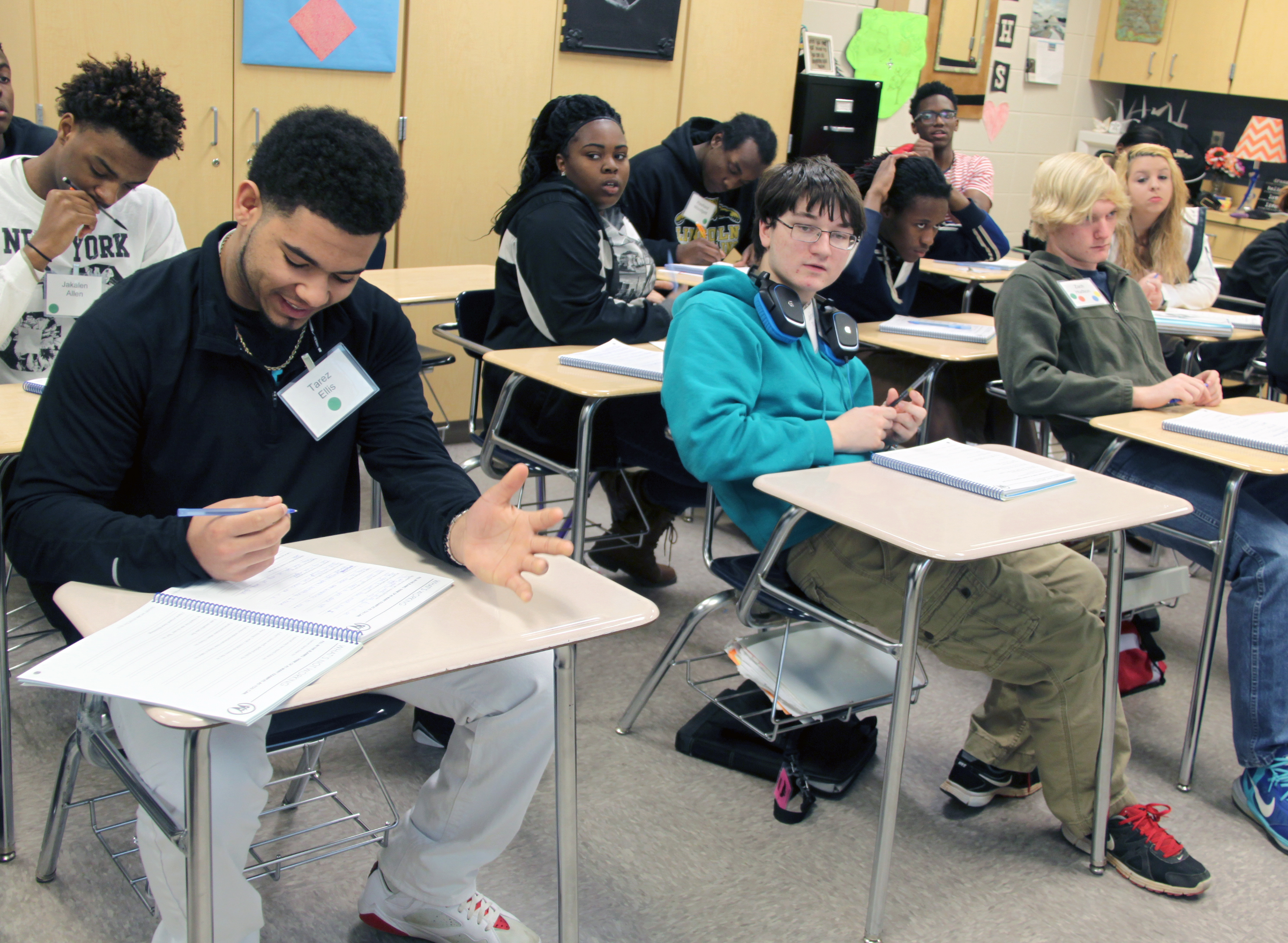students around state attend smart work ethics training rehab lincoln high school students listen during the smart work ethics class