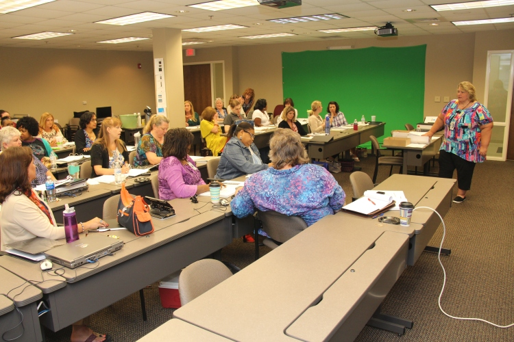 Kathy Fountain leads the Aug. 12 training on Personal Choices for all SAIL staff
