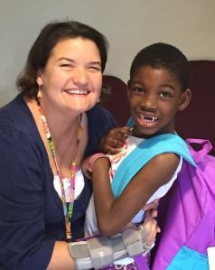 Sonia Cleckler sponsors first-grader Moshope Arabi