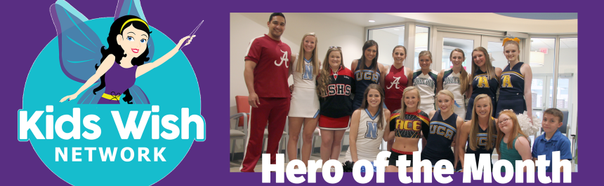 Hero of the Month graphic w/ photo of Ashlyn with cheerleaders