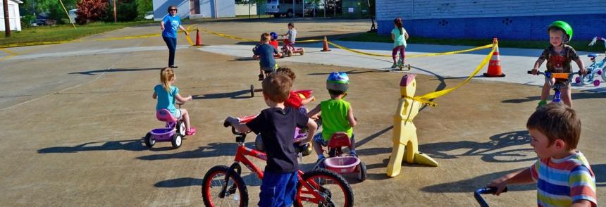 Children ride bikes at 'Family Day'