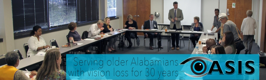"Photo of council meeting with OASIS graphic overlaid with text reading ""Serving older Alabamians with vision loss for 30 years"""