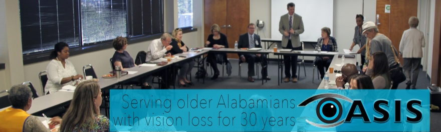 """Photo of council meeting with OASIS graphic overlaid with text reading """"Serving older Alabamians with vision loss for 30 years"""""""