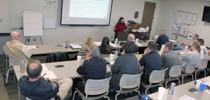 ADRS Lakeshore Rehabilitation Specialist Samantha Wadsworth leads a training at Vestavia Hills PD
