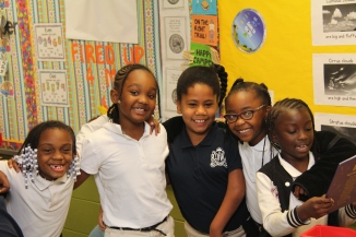 Diyari, with friends from her class