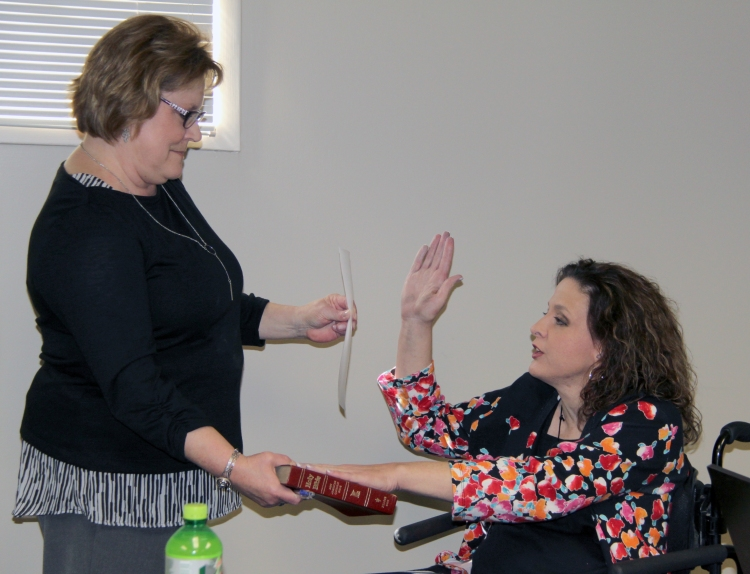 Karen Freeman swears in Leah Patterson Lust earlier this year