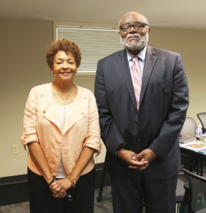 Dr. Albert Holloway is pictured with CRS Director Melinda Davis during a recent visit to the Montgomery office.
